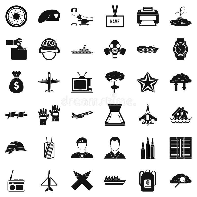 Geplaatste brigadepictogrammen, eenvoudige stijl stock illustratie