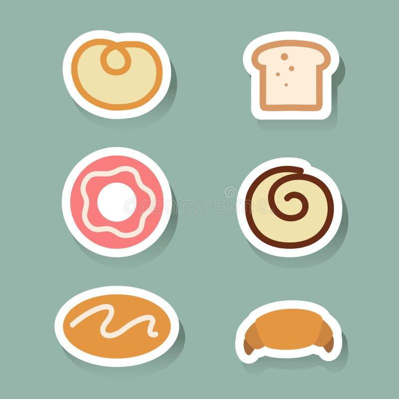 Geplaatste broodpictogrammen vector illustratie