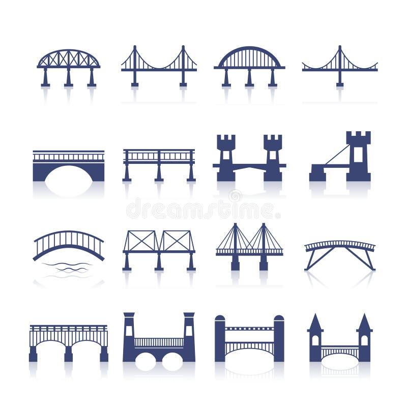 Geplaatste brugpictogrammen royalty-vrije illustratie