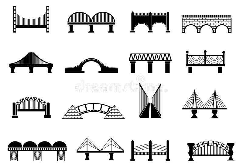 Geplaatste brugpictogrammen stock illustratie