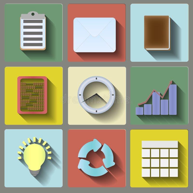 Geplaatste bureau vlakke pictogrammen vector illustratie