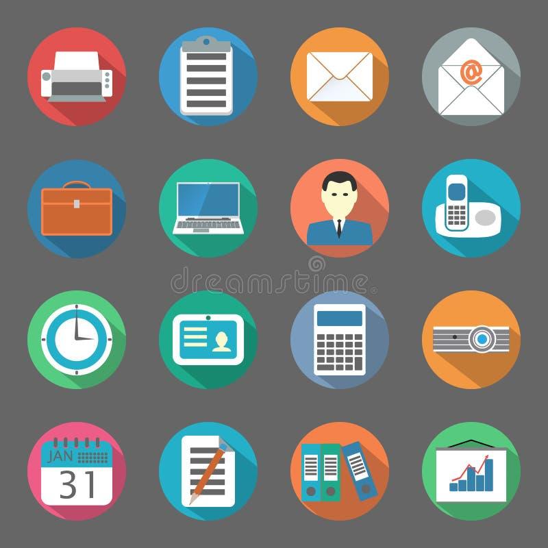 Geplaatste bureau vlakke pictogrammen stock illustratie