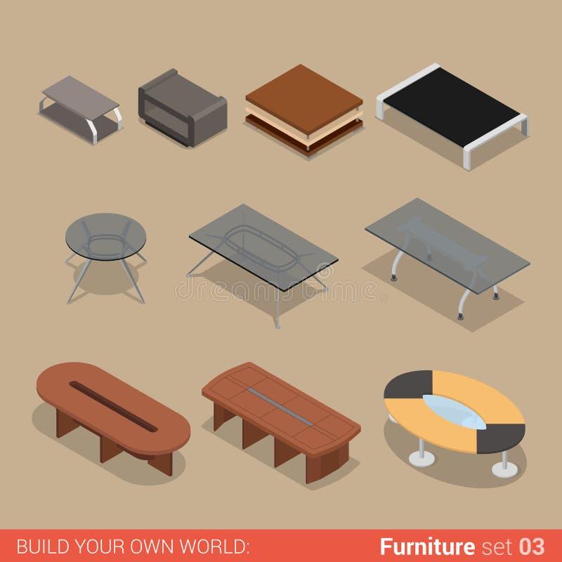 Geplaatste bureaulijst: vlak vector isometrisch meubilair royalty-vrije illustratie