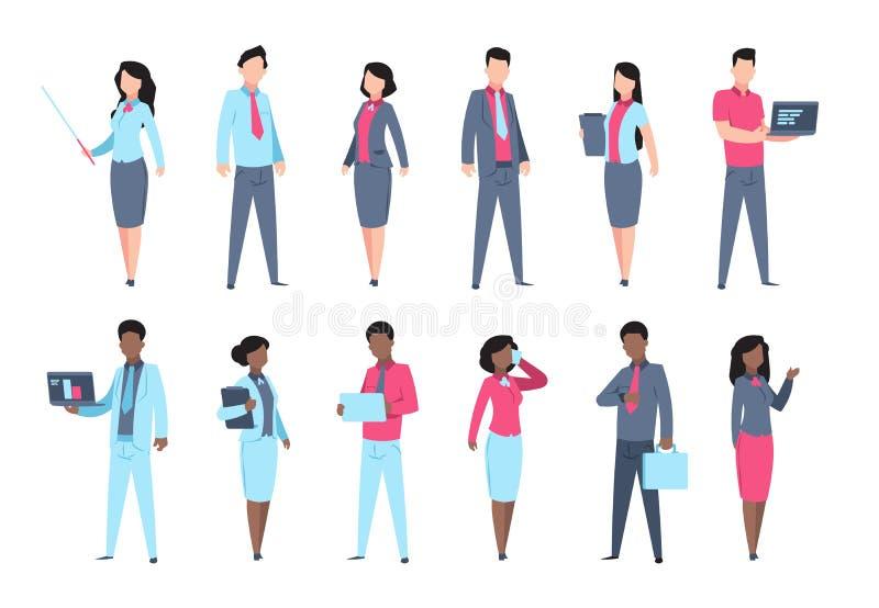 Geplaatste bureaumensen Van de de bedrijfs secretaressevrouw van zakenmankarakters de werknemers professionele persoon Vectorbeel stock illustratie