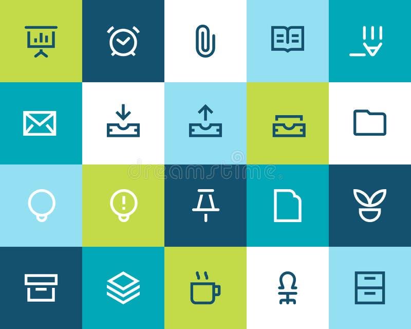 Geplaatste bureaupictogrammen. Vlak stock illustratie