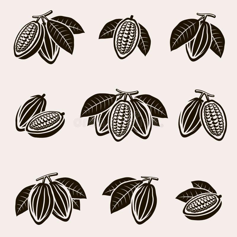 Geplaatste cacaobonen Vector royalty-vrije illustratie