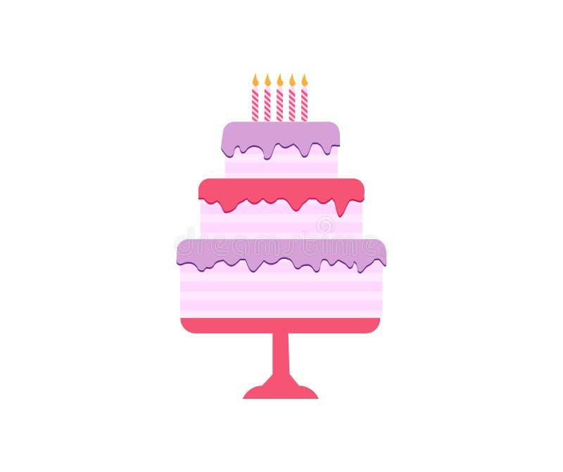 Geplaatste cakes, Verjaardag en huwelijk royalty-vrije illustratie