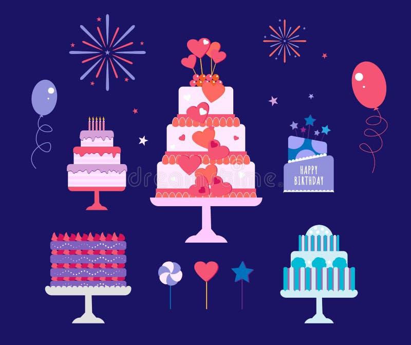 Geplaatste cakes, Verjaardag en huwelijk stock illustratie