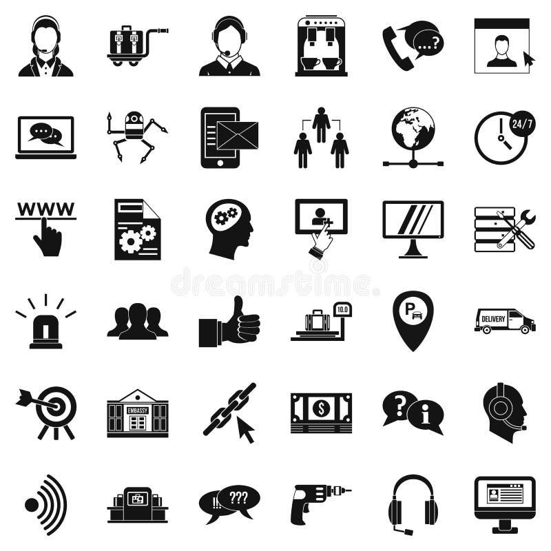 Geplaatste call centrepictogrammen, eenvoudige stijl vector illustratie