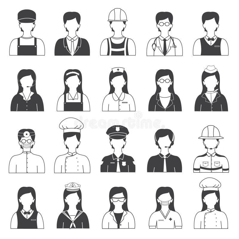 Geplaatste carrièremensen en Beroepspictogrammen royalty-vrije illustratie