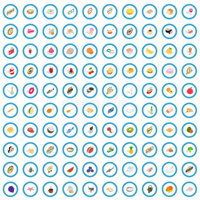 100 geplaatste chef-kokpictogrammen, isometrische 3d stijl vector illustratie