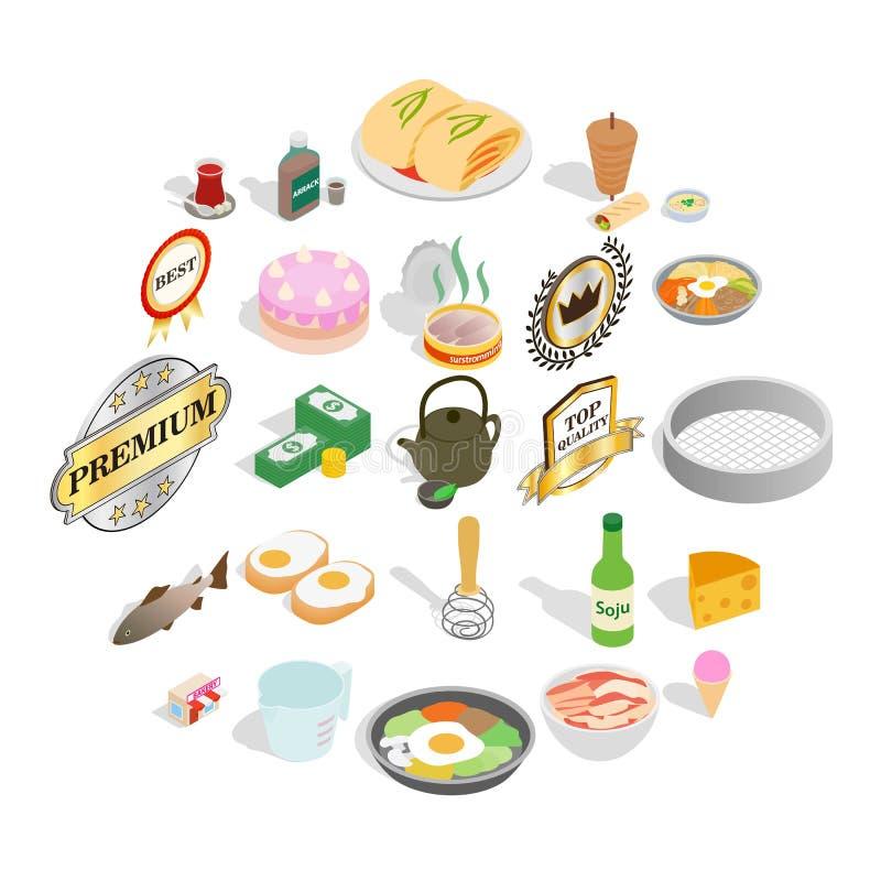 Geplaatste chef-kokpictogrammen, isometrische stijl vector illustratie