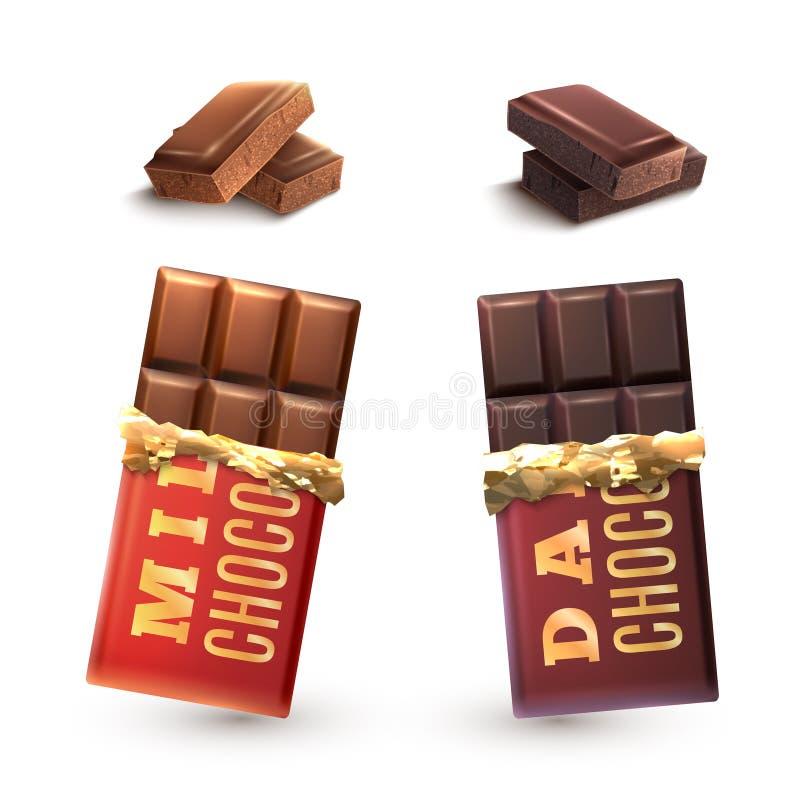 Geplaatste chocoladerepen royalty-vrije illustratie