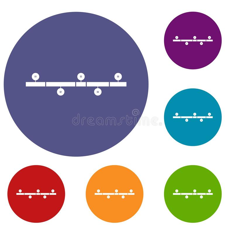 Geplaatste chronologie infographic pictogrammen royalty-vrije illustratie