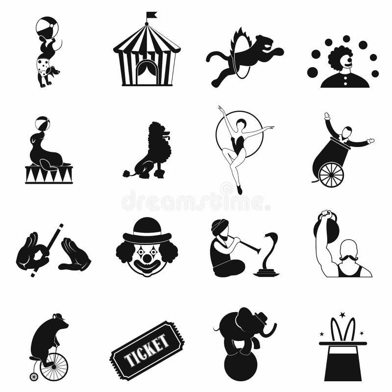 Geplaatste circus eenvoudige pictogrammen vector illustratie