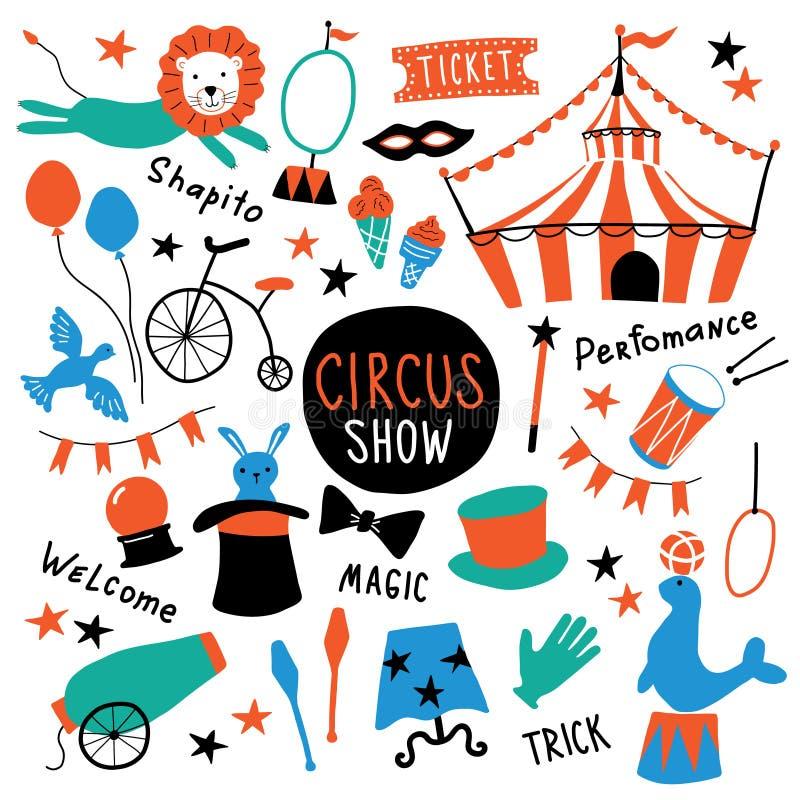 Geplaatste circus leuke symbolen Shapito toont met tent, dieren, acrobaat en tovenaarmateriaal Grappige krabbelhand getrokken ill stock illustratie