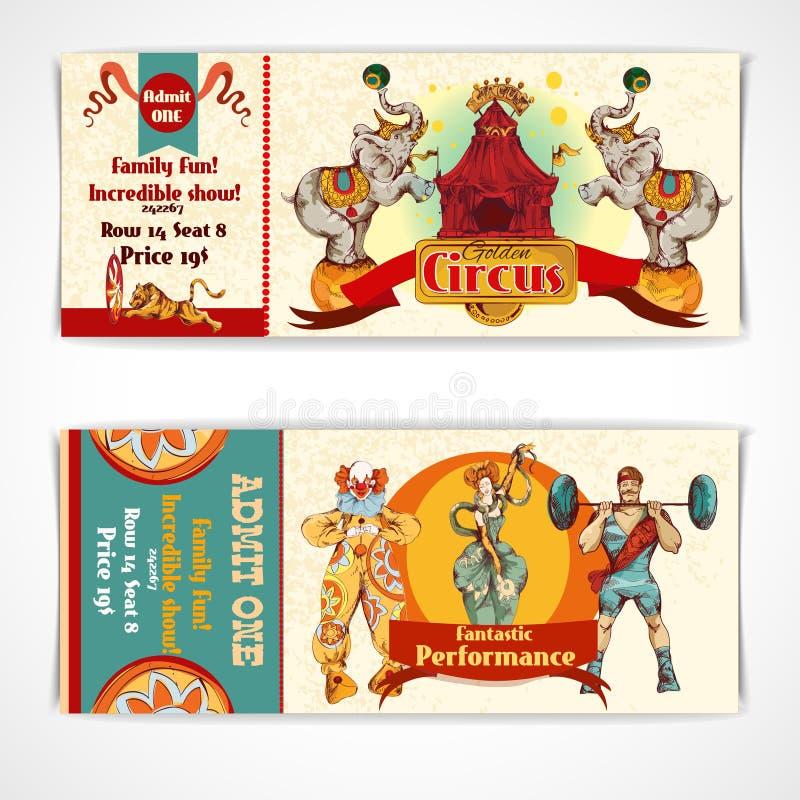Geplaatste circus uitstekende kaartjes vector illustratie