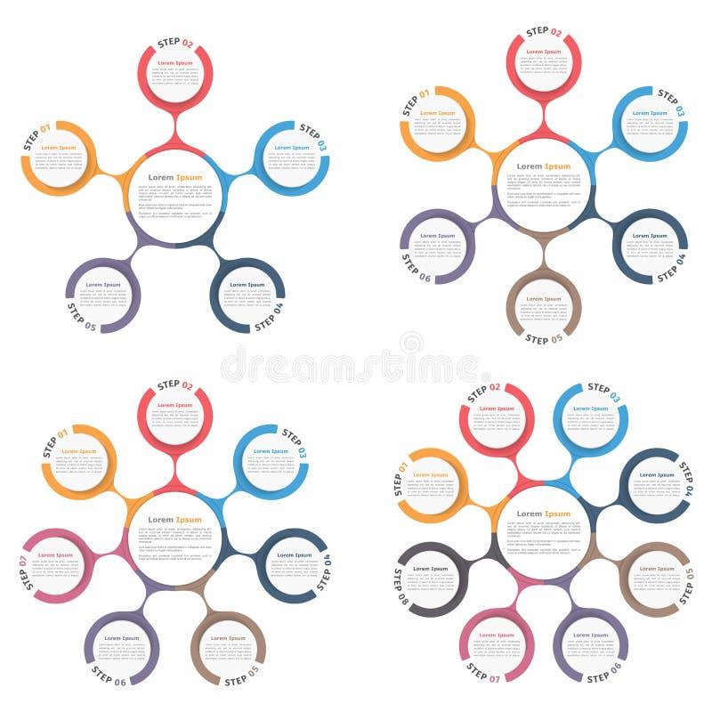 Geplaatste cirkeldiagrammen vector illustratie