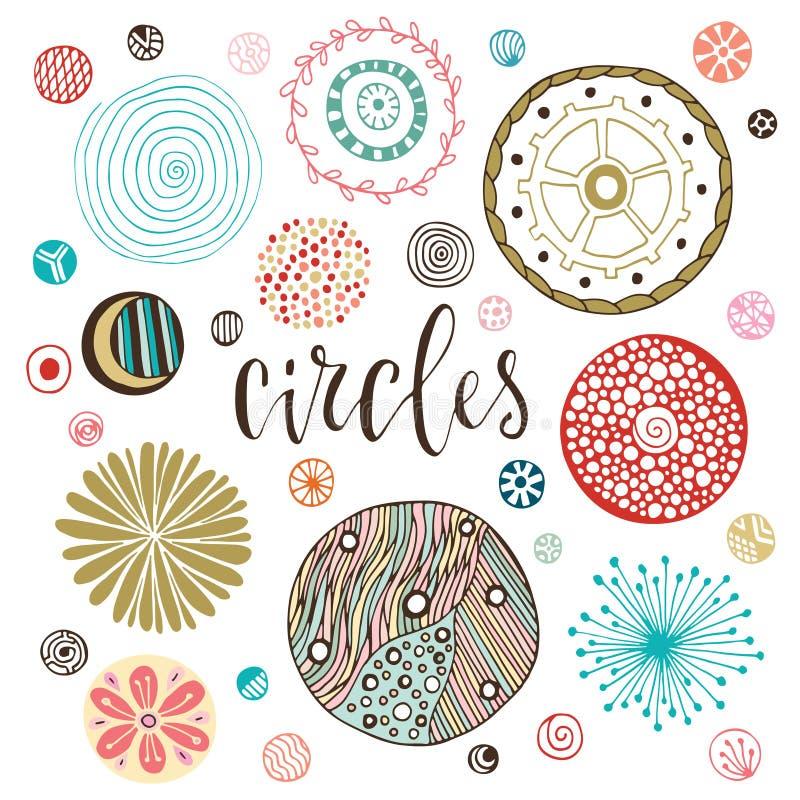 Geplaatste cirkeltexturen Hand getrokken Geïsoleerde decoratie Vector illustratie royalty-vrije illustratie