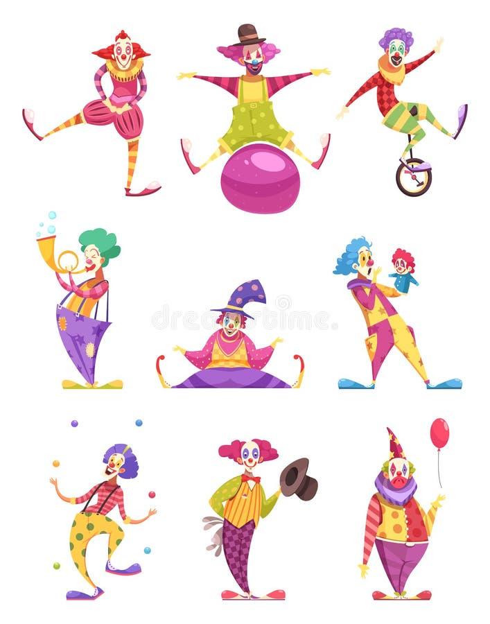 Geplaatste clownspictogrammen stock illustratie