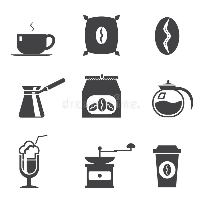 Geplaatste Coffe moderne in pictogrammen stock afbeelding