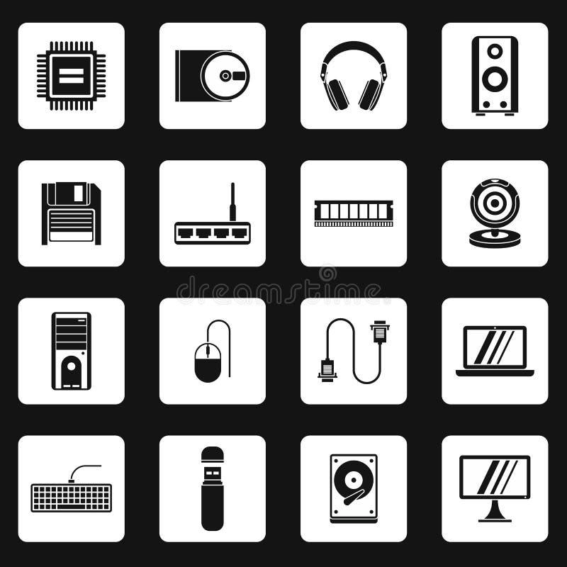 Geplaatste computerapparatuurpictogrammen, eenvoudige stijl vector illustratie