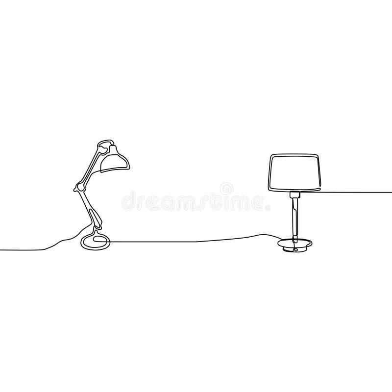 geplaatste contemporerlamp en de moderne Lampen van de lamp ononderbroken lijn Reeks eenvoudige lineaire krabbellijst en staande  vector illustratie