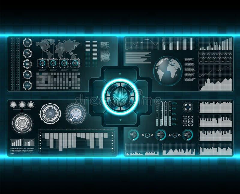 Geplaatste controlescanners Vingeraftasten in Futuristische Stijl Biometrische identiteitskaart met Futuristisch HUD Interface de royalty-vrije illustratie