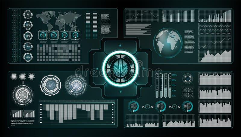 Geplaatste controlescanners Vingeraftasten in Futuristische Stijl Biometrische identiteitskaart met Futuristisch HUD Interface de vector illustratie