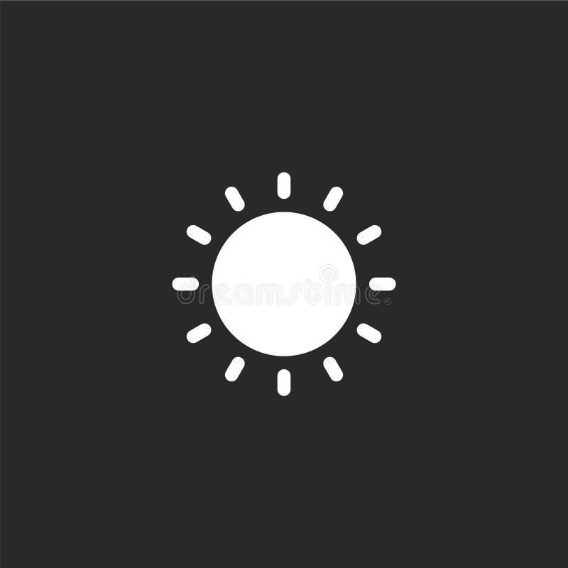 Geplaatste Cororknopen Gevuld zonpictogram voor websiteontwerp en mobiel, app ontwikkeling zonpictogram van de gevulde geïsoleerd royalty-vrije illustratie