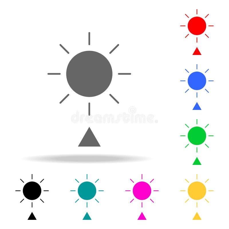 Geplaatste Cororknopen zonnig weersymbool Elementen in multi gekleurde pictogrammen voor mobiel concept en Web apps Pictogrammen  vector illustratie