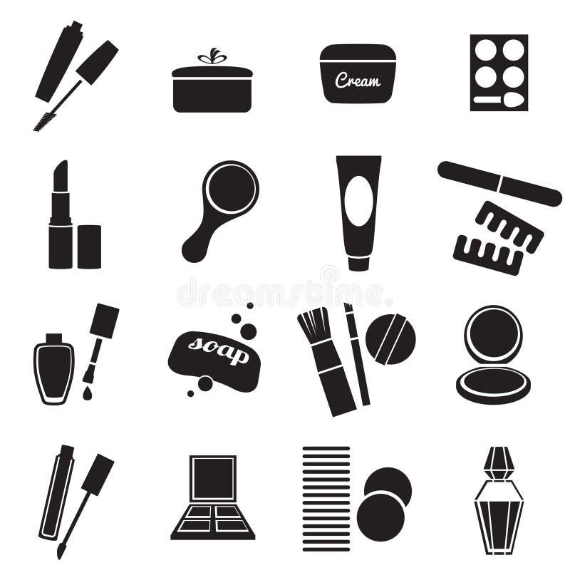 Geplaatste cosmetischee producten eenvoudige pictogrammen vector illustratie