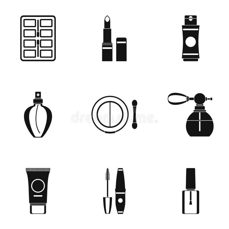 Geplaatste cosmetischee productenpictogrammen, eenvoudige stijl royalty-vrije illustratie