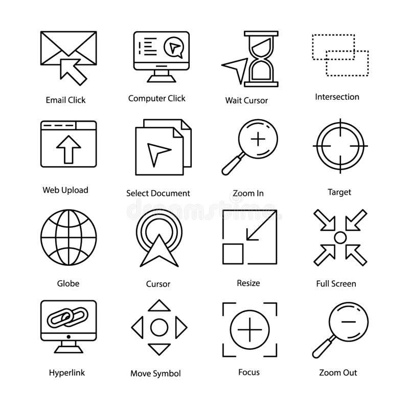 Geplaatste curseurpictogrammen royalty-vrije illustratie