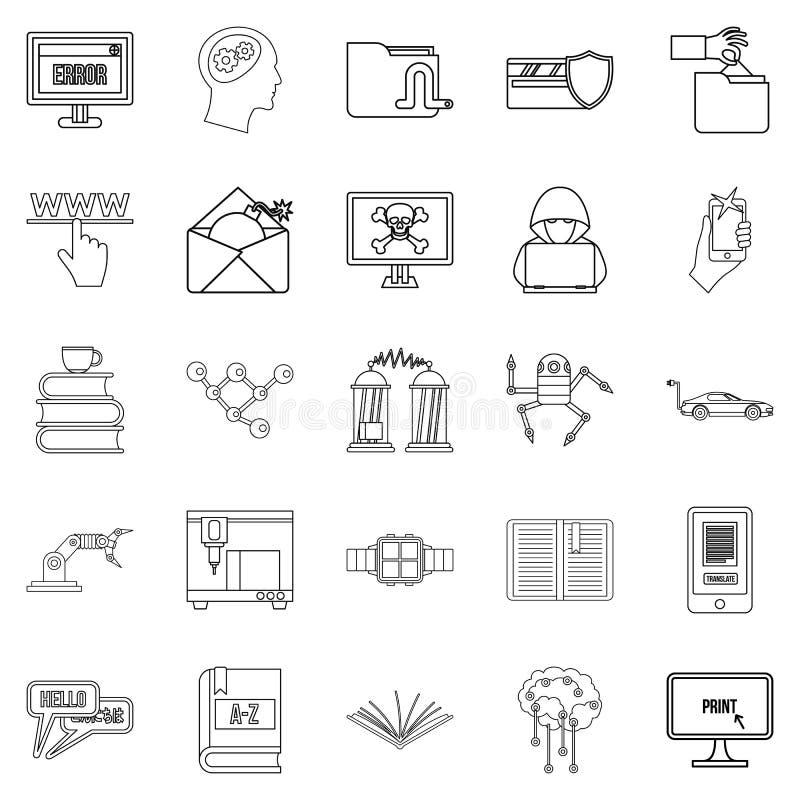 Geplaatste cybernetica de pictogrammen, schetsen stijl stock illustratie