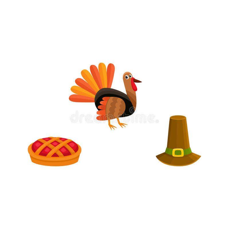 Geplaatste dankzegging - de hoed van Turkije, van de pastei en van de pelgrim royalty-vrije illustratie