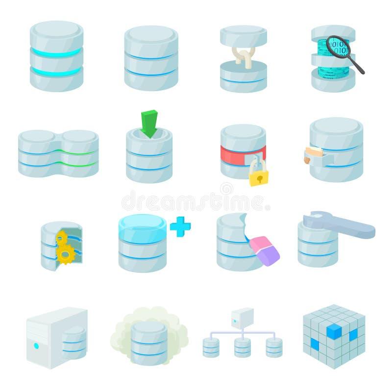 Geplaatste databasepictogrammen vector illustratie