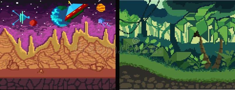 Geplaatste de achtergronden van de pixelkunst Pixelwildernis en ruimtethema voor spel royalty-vrije illustratie