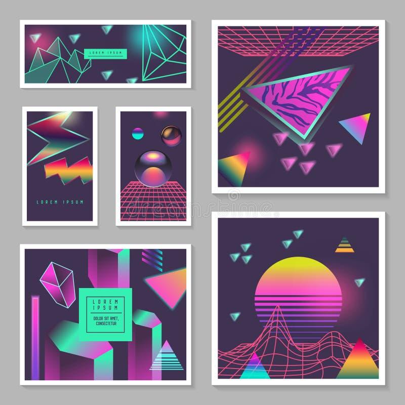 Geplaatste de Affichemalplaatjes van de Synthgolf Futuristische Achtergrond met Neon Gloeiende Geometrische Elementen Holografisc royalty-vrije illustratie