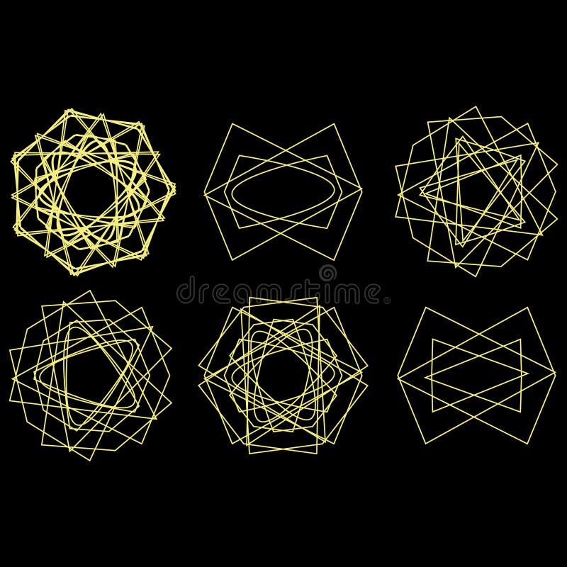 Geplaatste de astrologie van de het pictogramster van het symboolpatroon pentagram royalty-vrije illustratie