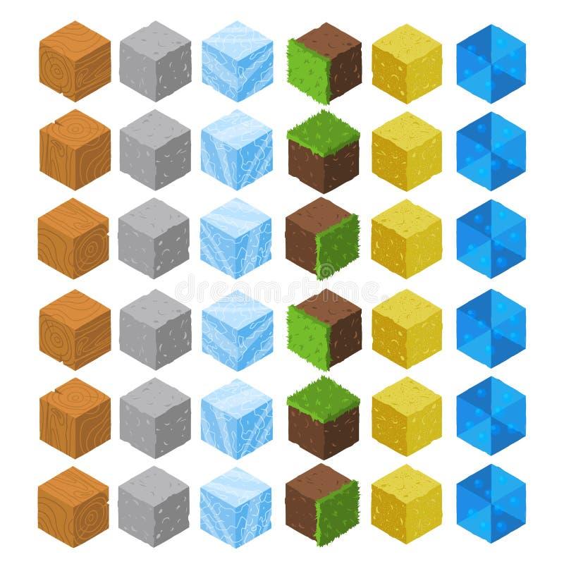 Geplaatste de baksteenkubussen van het beeldverhaal Isometrische spel vector illustratie