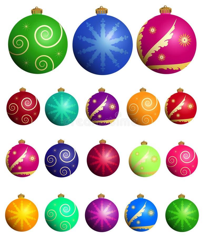 Geplaatste de ballen van Kerstmis stock illustratie