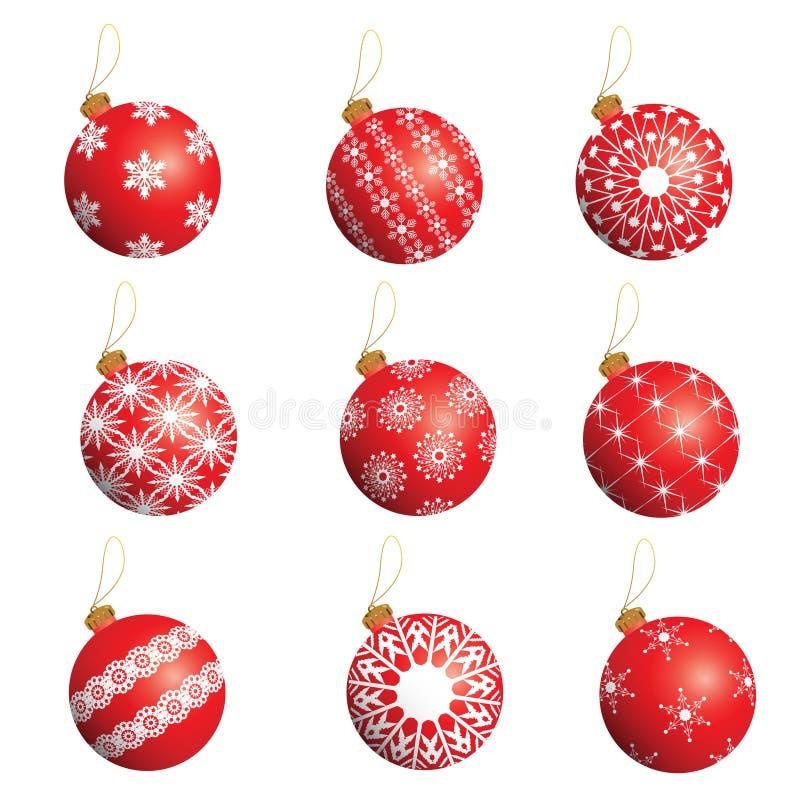 Geplaatste de ballen van Kerstmis vector illustratie