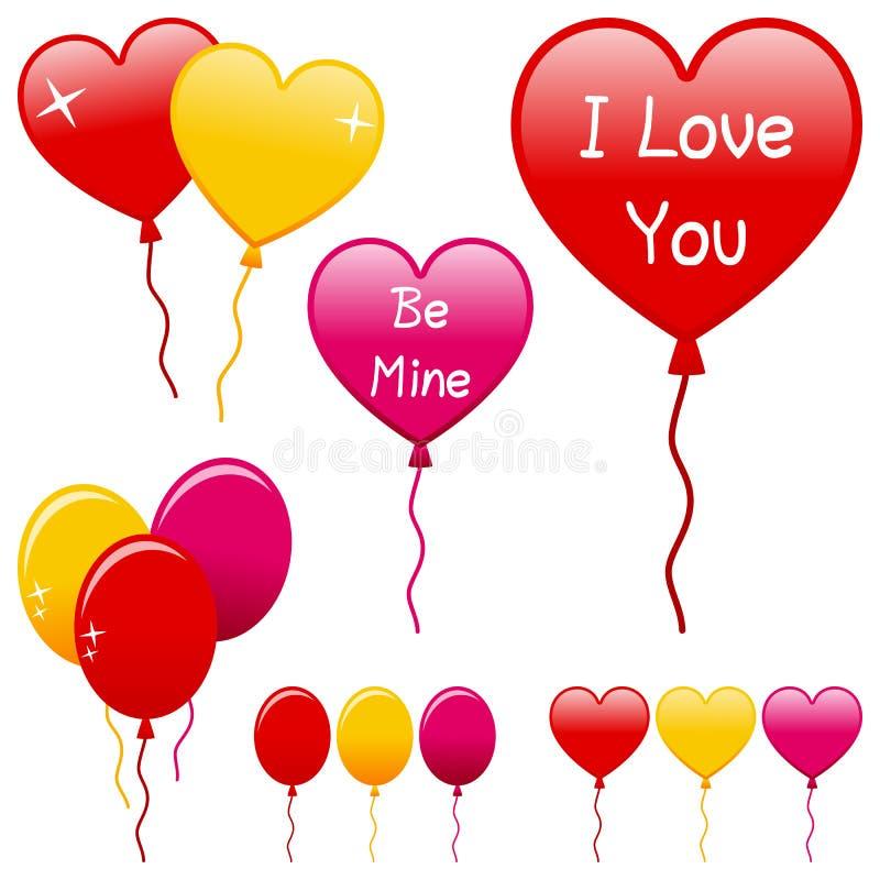 Geplaatste de Ballons van de Dag van valentijnskaarten stock illustratie
