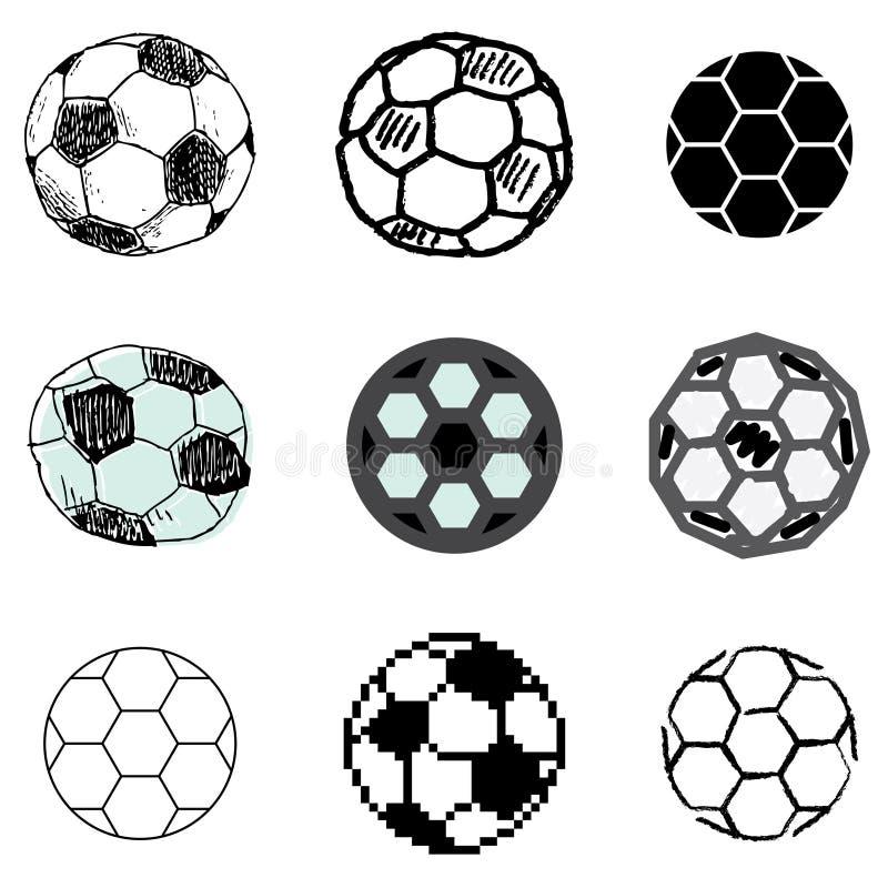 Geplaatste de balpictogrammen van het voetbal stock illustratie