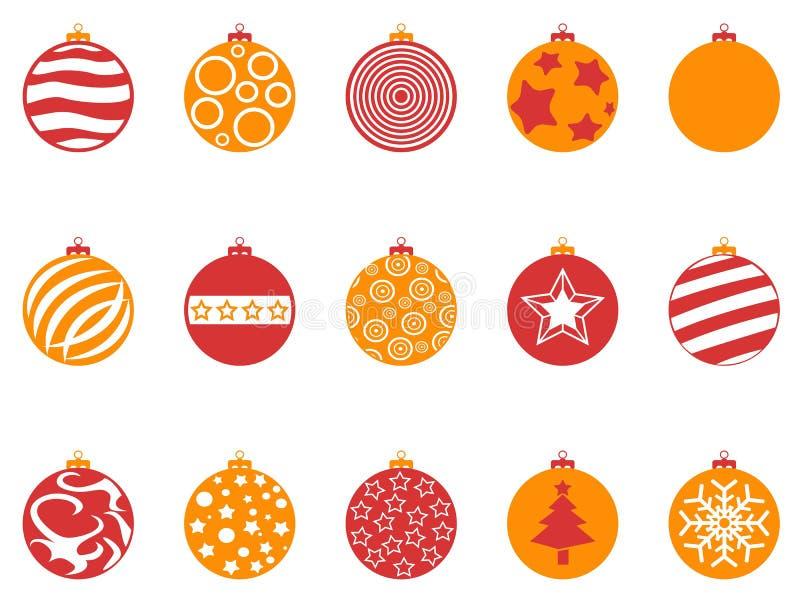 Geplaatste de balpictogrammen van oranje en rode kleurenkerstmis vector illustratie