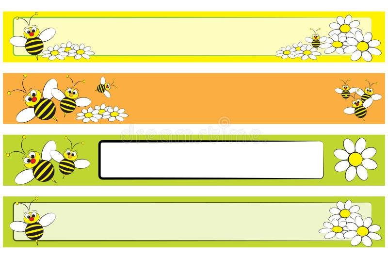 Geplaatste de Banner van het Web - Bij en madeliefjes voor kinderen vector illustratie