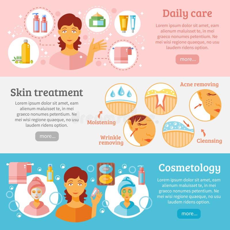Geplaatste de Banners van de huidkosmetiek royalty-vrije illustratie