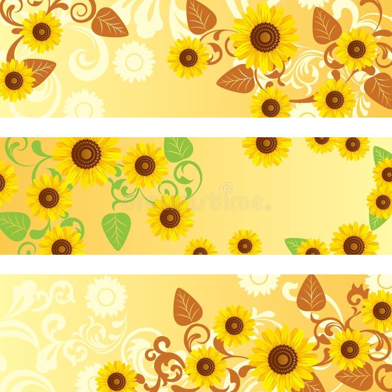 Geplaatste de Banners van de zonnebloem royalty-vrije illustratie