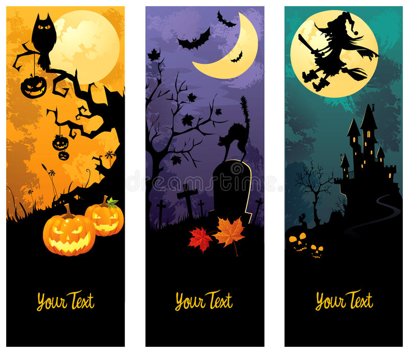 Geplaatste de banners van Halloween royalty-vrije illustratie